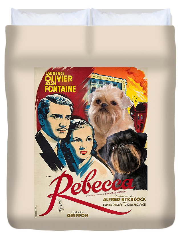 Dog Duvet Cover featuring the painting Brussels Griffon Art - Rebecca Movie Poster by Sandra Sij