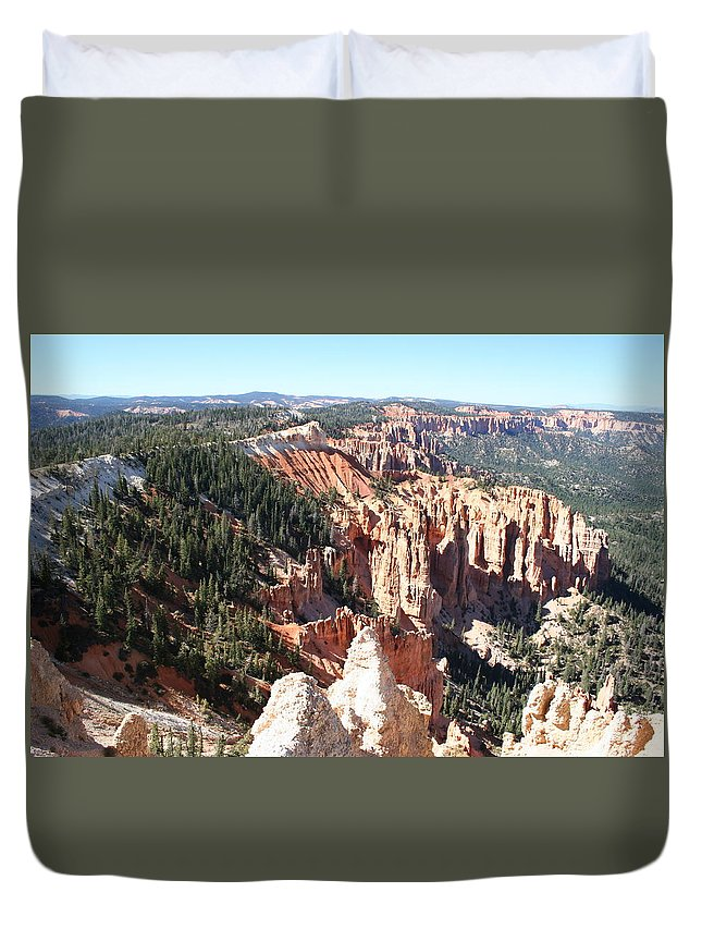 Canyon Duvet Cover featuring the photograph Bryce Canyon Hoodoos Landscape by Christiane Schulze Art And Photography
