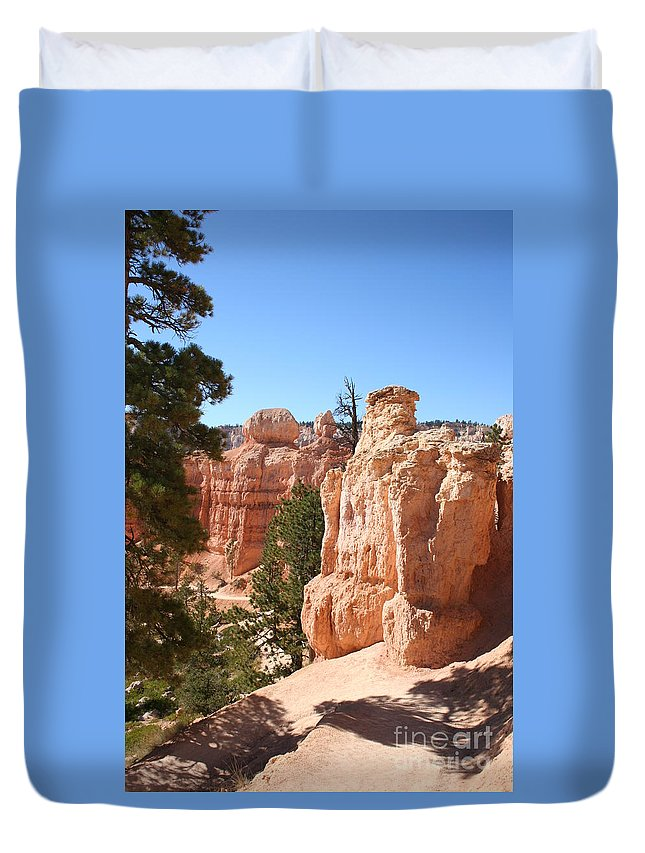 Canyon Duvet Cover featuring the photograph Bryce Canyon Red Rocks by Christiane Schulze Art And Photography