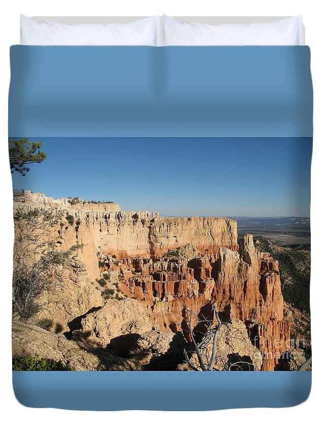 Rocks Duvet Cover featuring the photograph Bryce Canyon Scenic View by Christiane Schulze Art And Photography