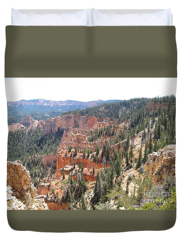 Rocks Duvet Cover featuring the photograph Bryce Canyon View by Christiane Schulze Art And Photography