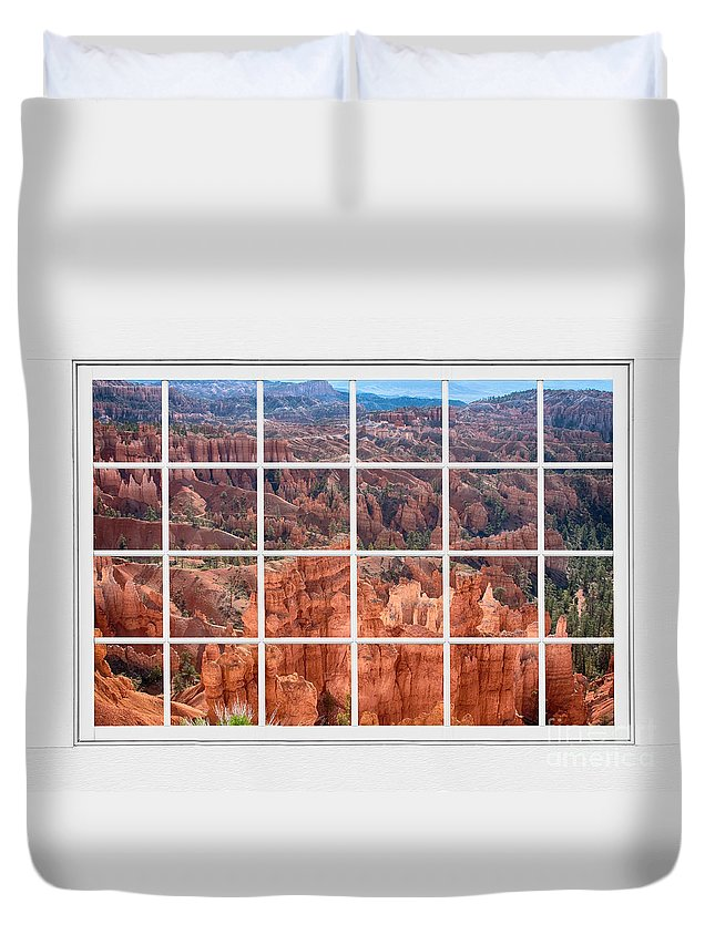 Bryce Canyon Duvet Cover featuring the photograph Bryce Canyon White Picture Window View by James BO Insogna