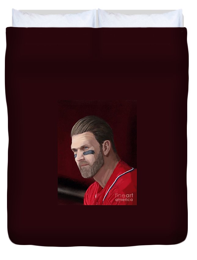 Bryce Harper Duvet Cover featuring the painting Bryce Harper by Jeremy Nash