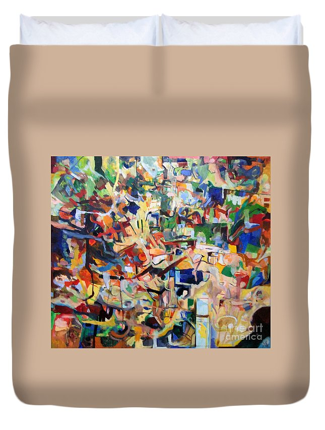 Torah Duvet Cover featuring the painting bSeter Elyion 3 by David Baruch Wolk