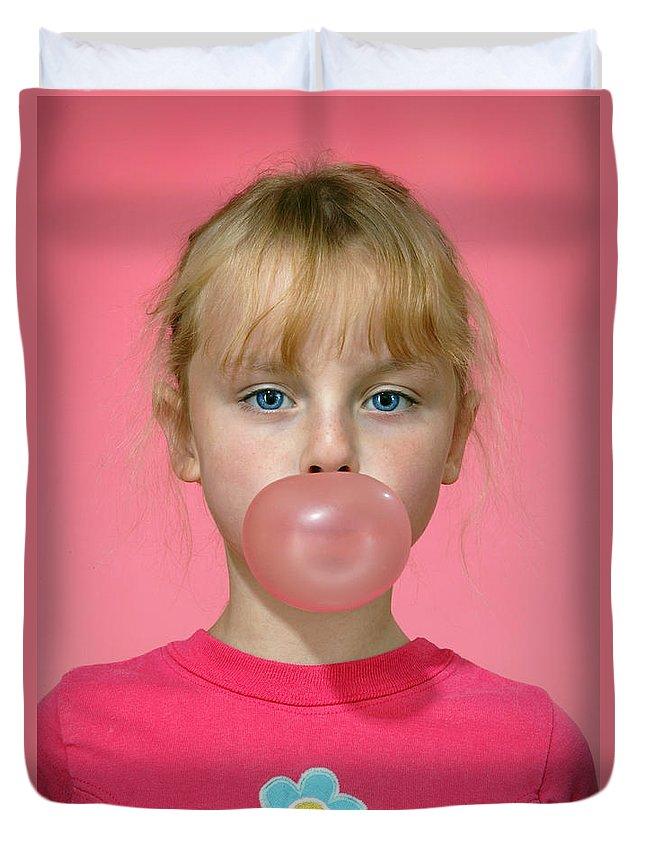 Bubble Gum Duvet Cover featuring the photograph Bubble Gum Pink by Martin Konopacki
