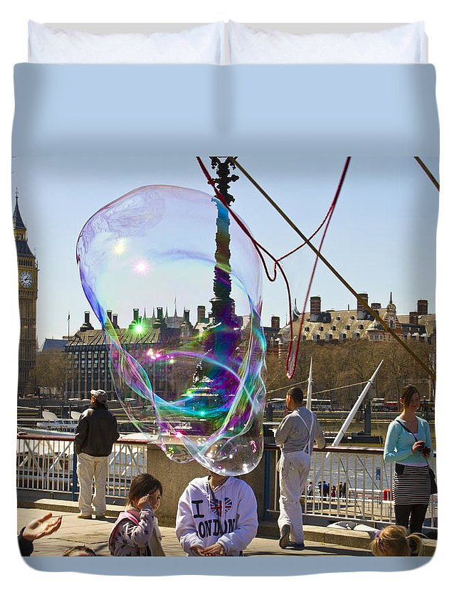 Bubbles Duvet Cover featuring the photograph Bubbles Big Ben by David French