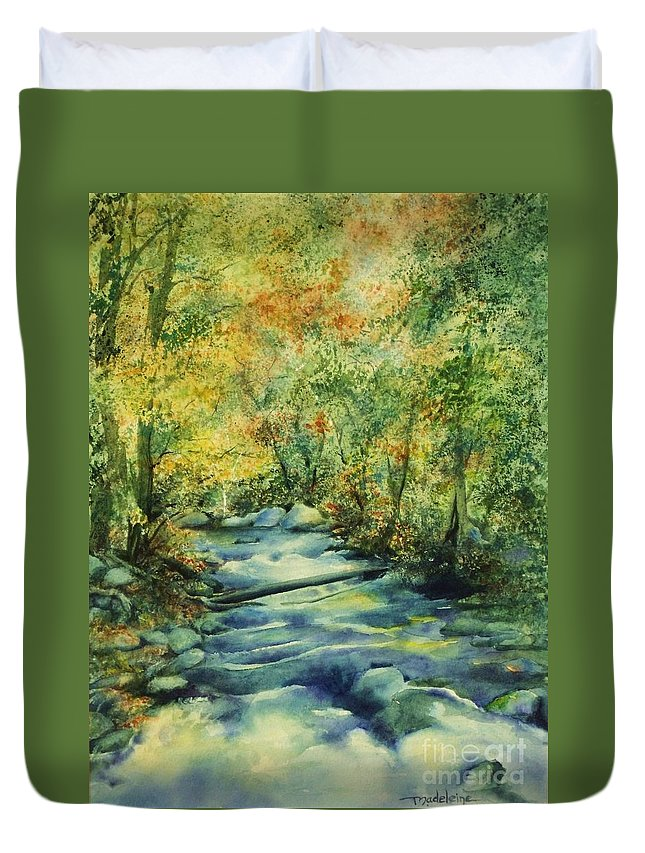 Landscape Duvet Cover featuring the painting Bubbling Brook by Madeleine Holzberg