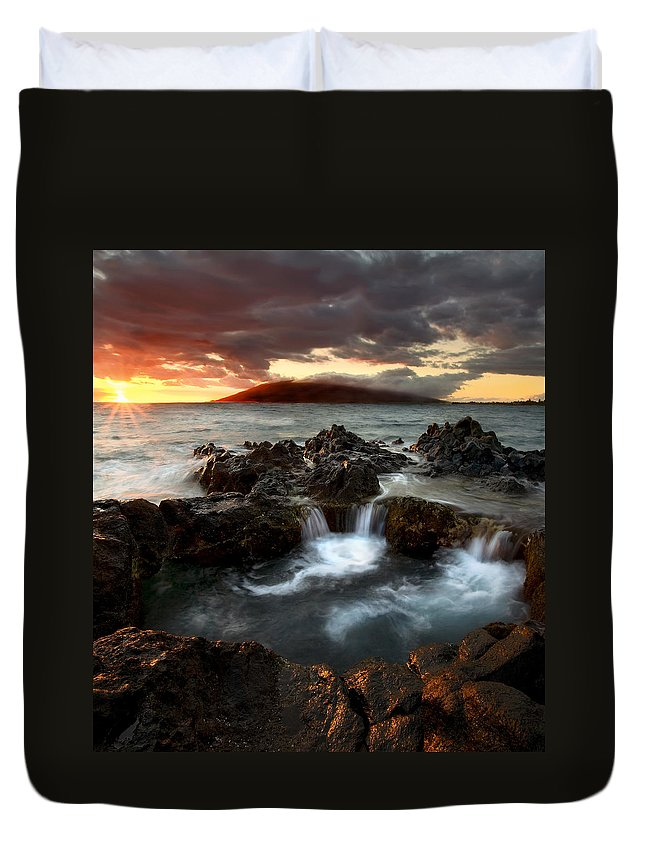 Sunset Duvet Cover featuring the photograph Bubbling Cauldron by Mike Dawson