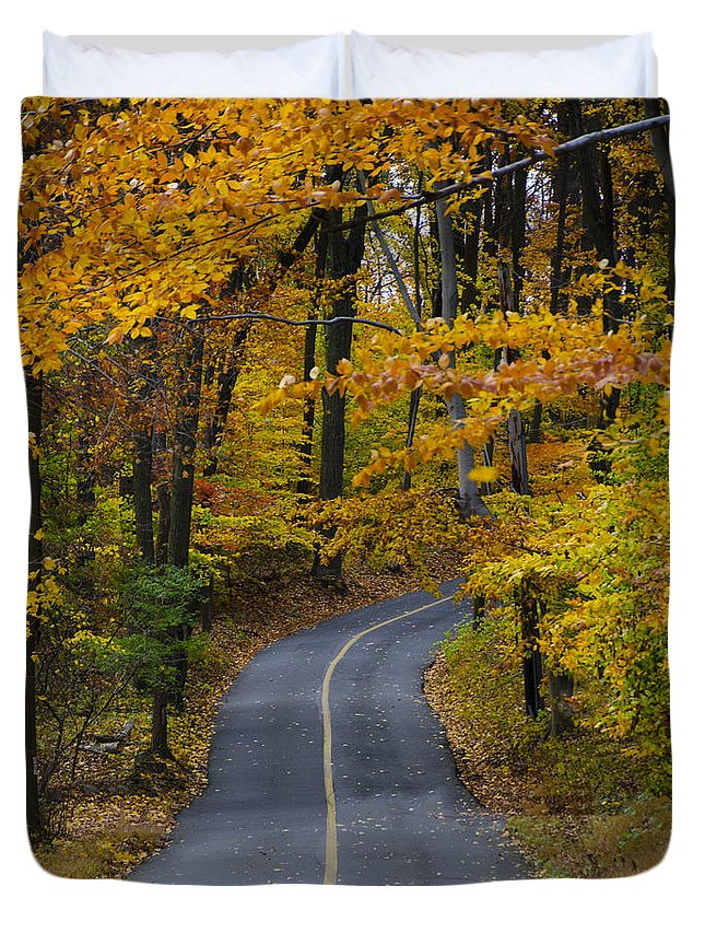 Bucks Duvet Cover featuring the photograph Bucks County Road In Autumn by Bill Cannon