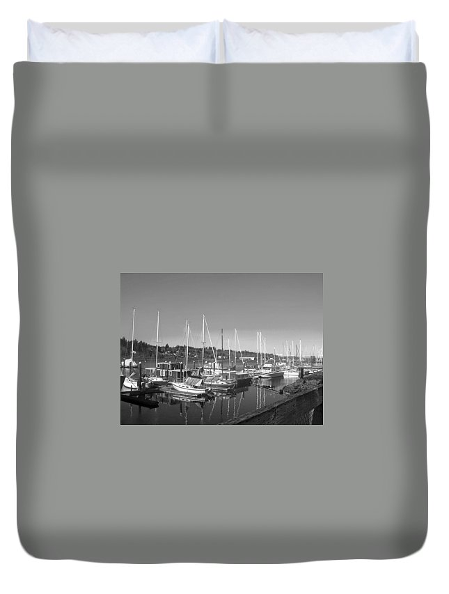 Budd Duvet Cover featuring the photograph Budd Inlet Olympia Wa B W by Howard Tenke
