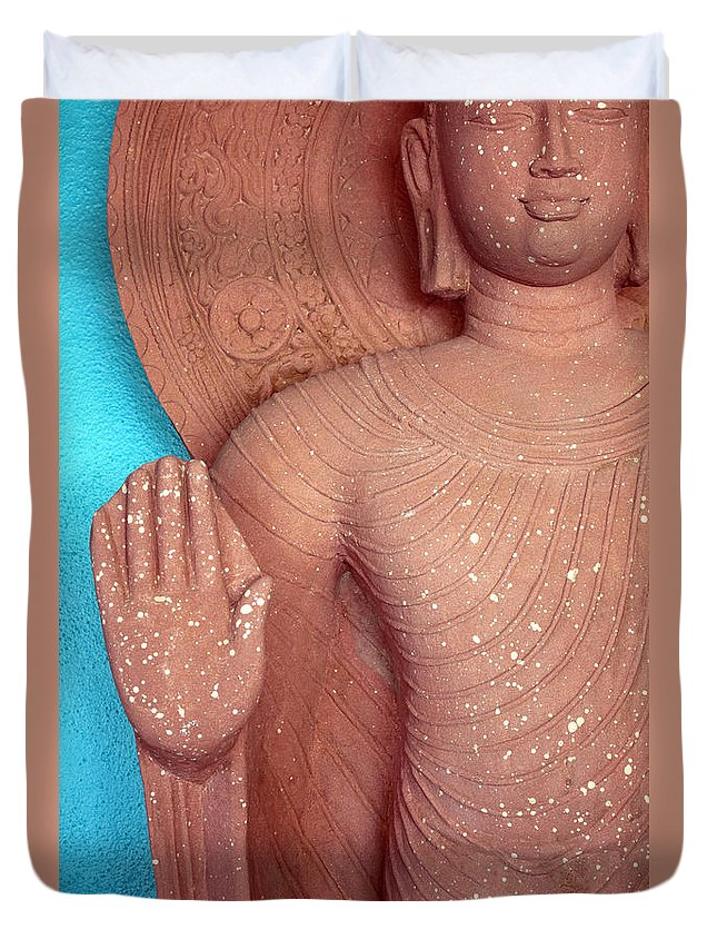 Siddhartha Duvet Cover featuring the photograph Buddha Carved Stone Statue With Halo by Sally Rockefeller