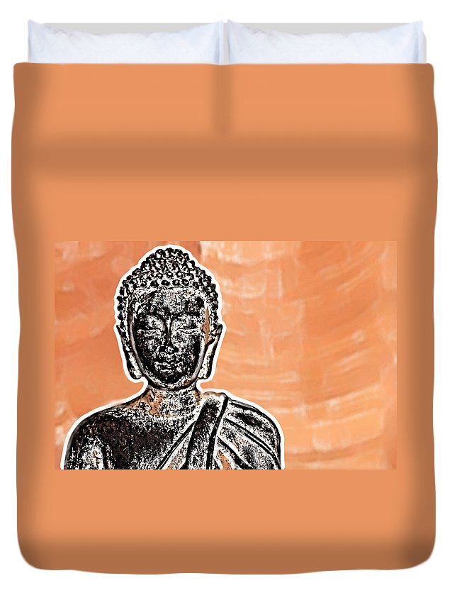 Abstract Duvet Cover featuring the digital art Buddha Face by Semmick Photo
