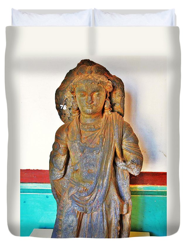 Buddha Duvet Cover featuring the photograph Ancient Buddha Statue - Albert Hall - Jaipur India by Kim Bemis