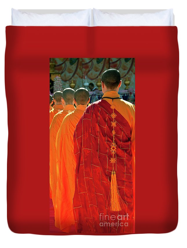 Buddhist Monk Duvet Cover featuring the photograph Buddhist Monks by Rick Piper Photography