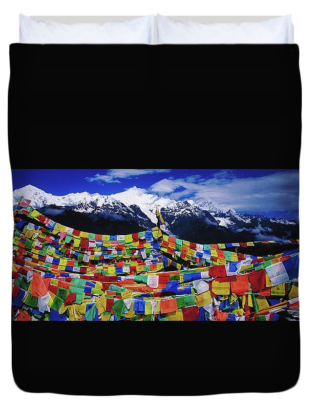 Chinese Culture Duvet Cover featuring the photograph Buddhist Prayer Flags With Meili by Richard I'anson