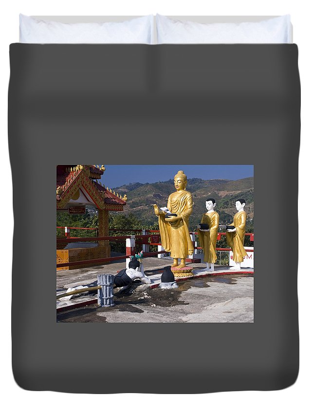 Shrine Duvet Cover featuring the photograph Buddhist Statues by Sally Weigand