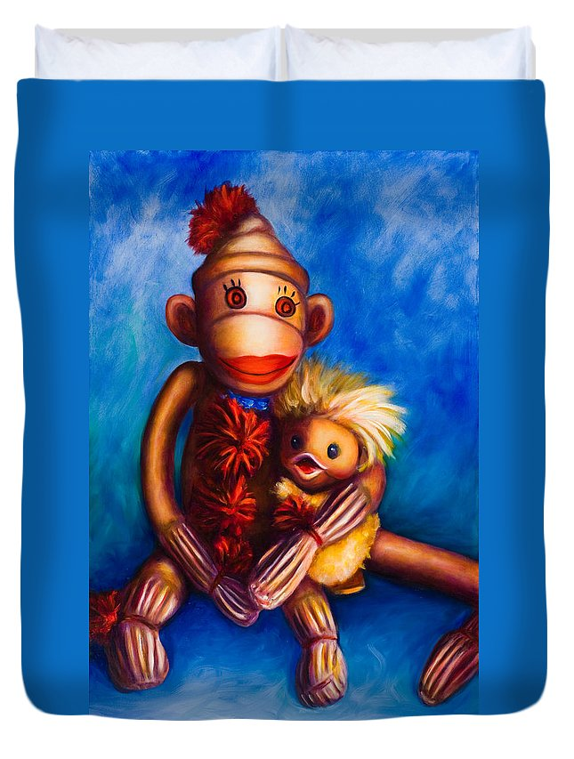 Sock Monkeys Brown Duvet Cover featuring the painting Buddies by Shannon Grissom