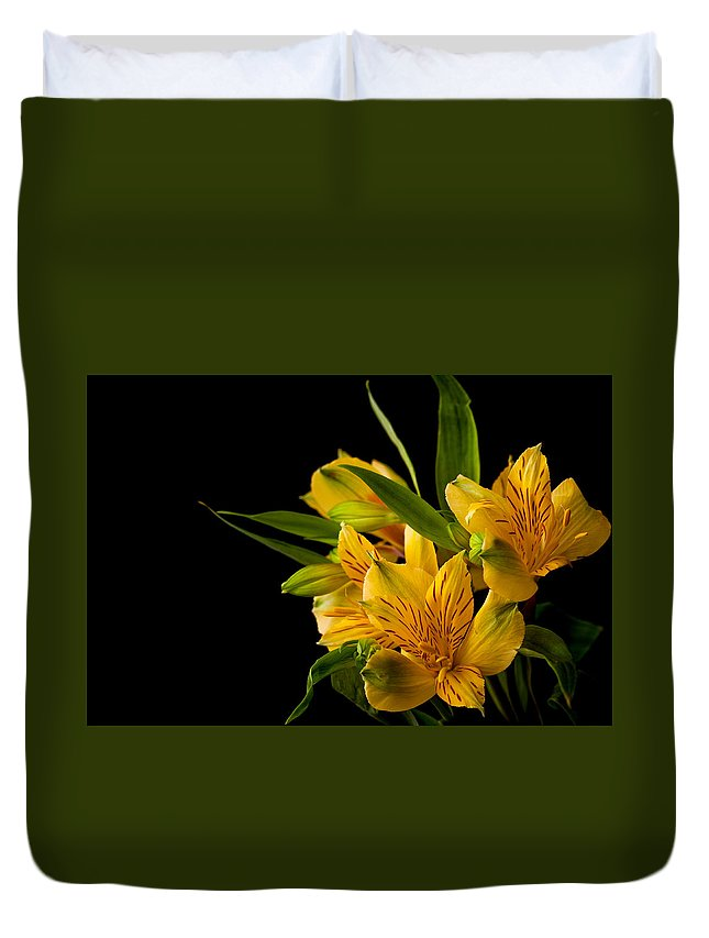 Green Duvet Cover featuring the photograph Budding Flowers by Sennie Pierson