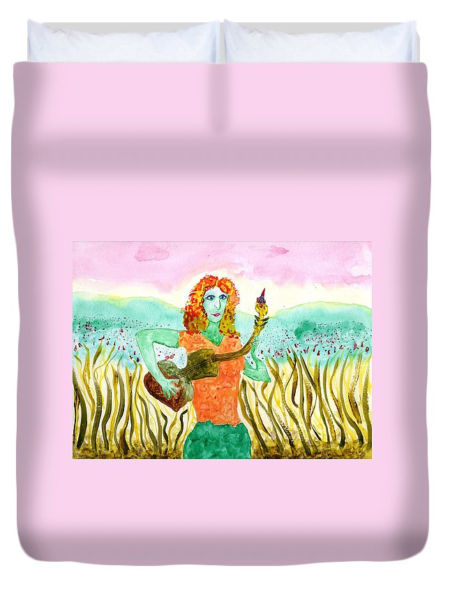 Jim Taylor Duvet Cover featuring the painting Budding Guitarist by Jim Taylor