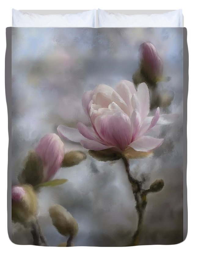 2014 Duvet Cover featuring the digital art Budding Magnolia Branch by Karen Forsyth