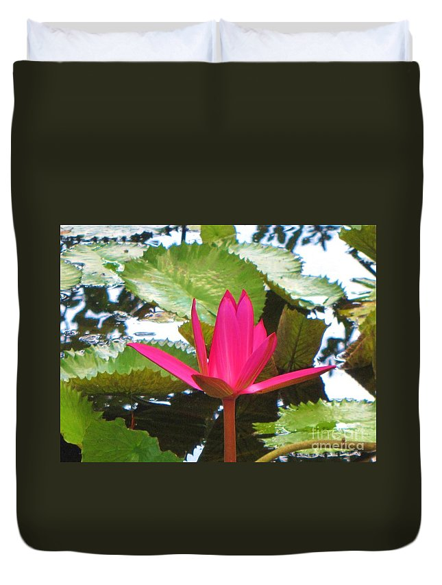 Lily Duvet Cover featuring the photograph Budding Majesty by Keri West