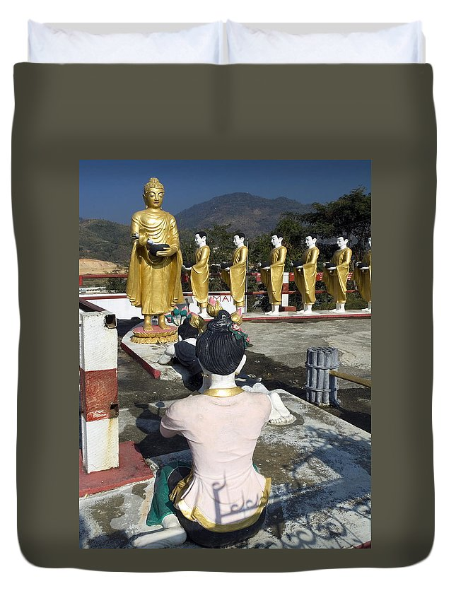 Shrine Duvet Cover featuring the photograph Buddist Shrine by Sally Weigand