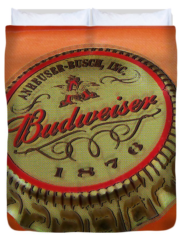 Budweiser Duvet Cover featuring the painting Budweiser Cap by Tony Rubino