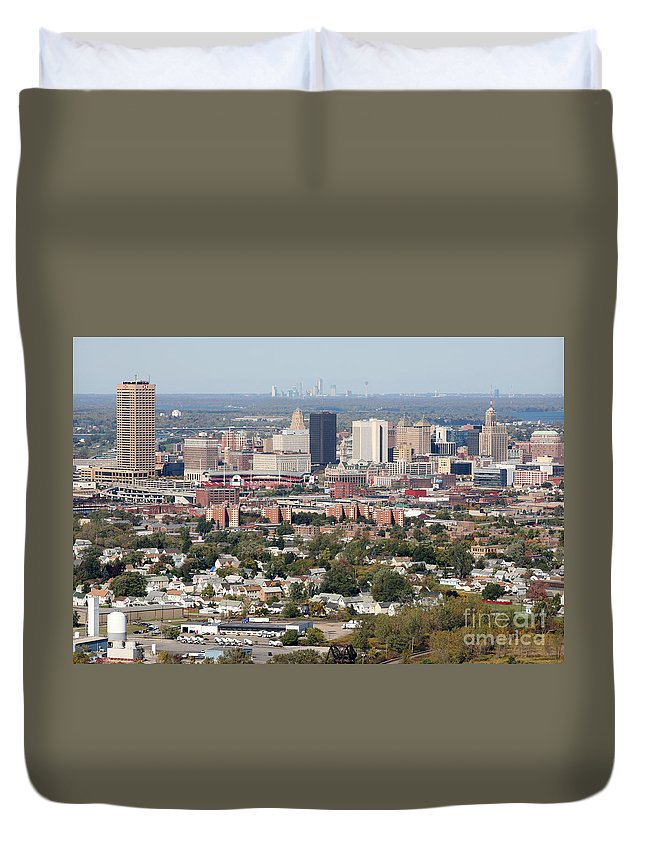 New York Duvet Cover featuring the photograph Buffalo And Niagara Falls Skylines by Bill Cobb