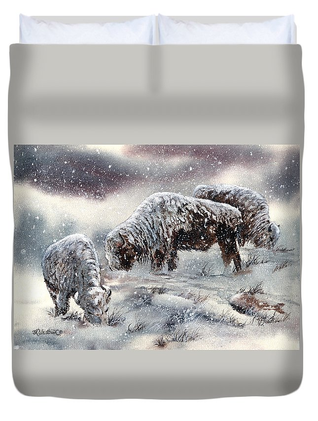 Buffalo Duvet Cover featuring the painting Buffalo In Snow by Jill Westbrook