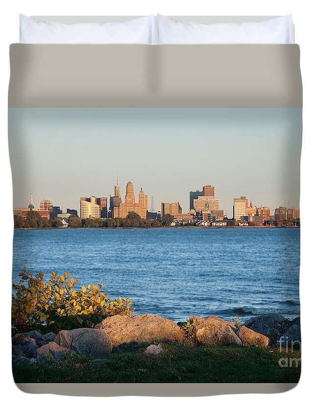 New York Duvet Cover featuring the photograph Buffalo Skyline From Fort Erie by Bill Cobb