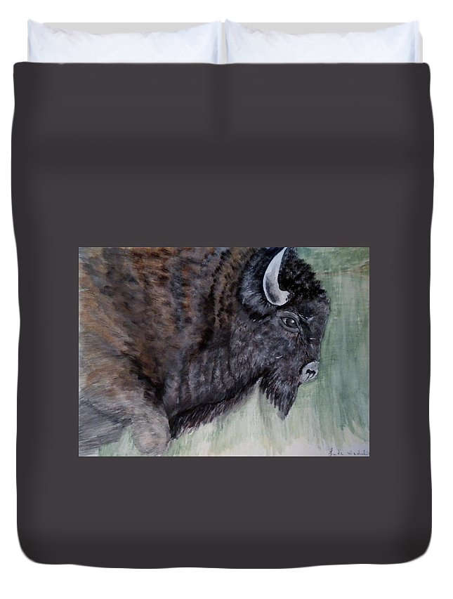 Buffalo Duvet Cover featuring the painting Buffalo-sully Wildlife Preserve by Linda Waidelich