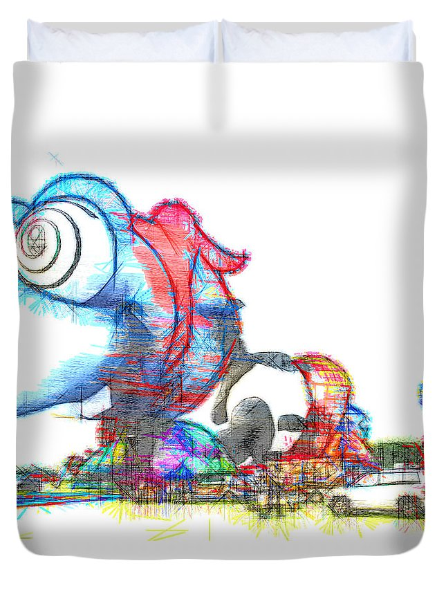 Buggy Eyed Hot Air Balloon Duvet Cover featuring the photograph Buggy by Alice Gipson