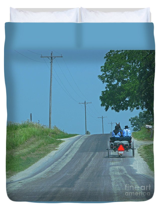Amish Duvet Cover featuring the photograph Buggy Ride by Ann Horn