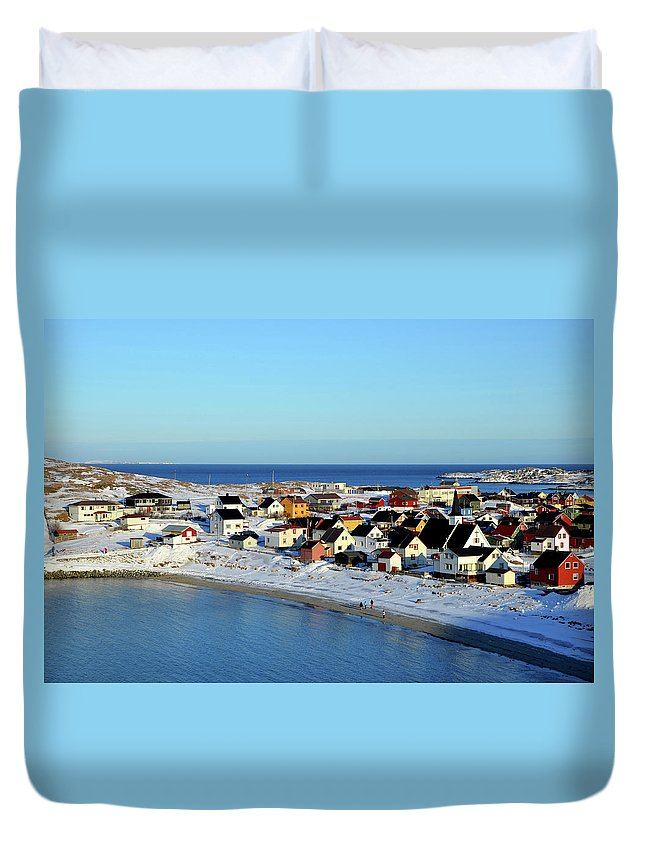 Water's Edge Duvet Cover featuring the photograph Bugøynes by Federica Gentile