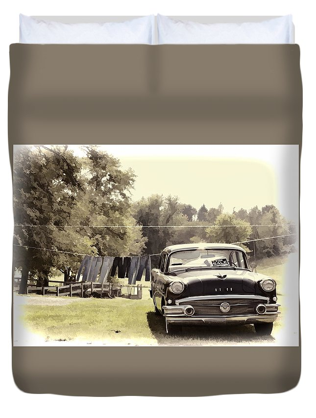 Buick Car Automobile Clothes Hanging Duvet Cover featuring the photograph Buick For Sale Two by Alice Gipson