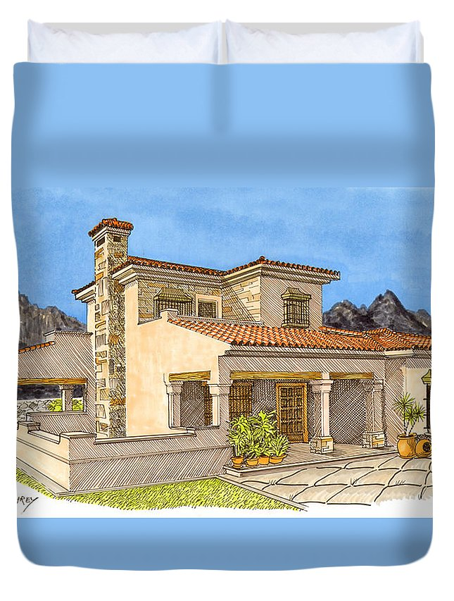 Architectural Renderings Duvet Cover featuring the painting Builders Rendering by Jack Pumphrey