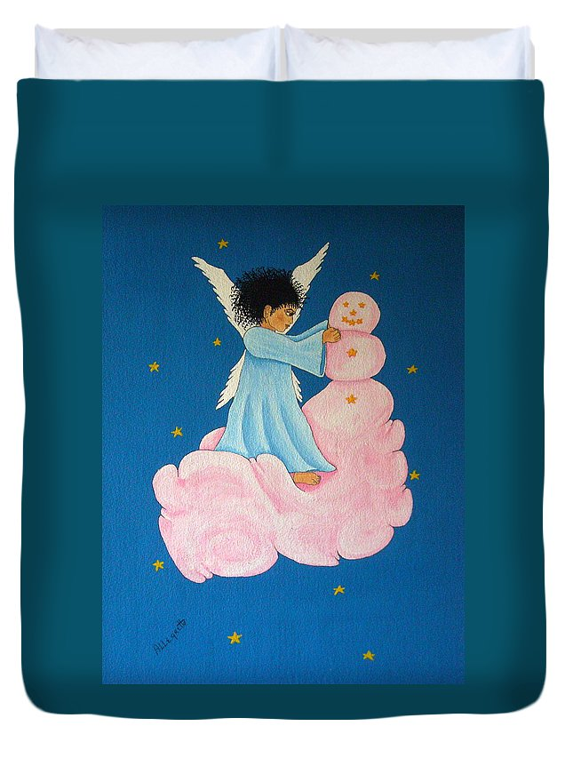 Allegretto Art Duvet Cover featuring the painting Building A Cloudman by Pamela Allegretto