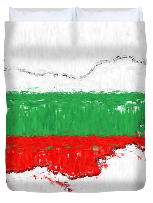 Bulgaria Duvet Cover featuring the photograph Bulgaria Painted Flag Map by Antony McAulay