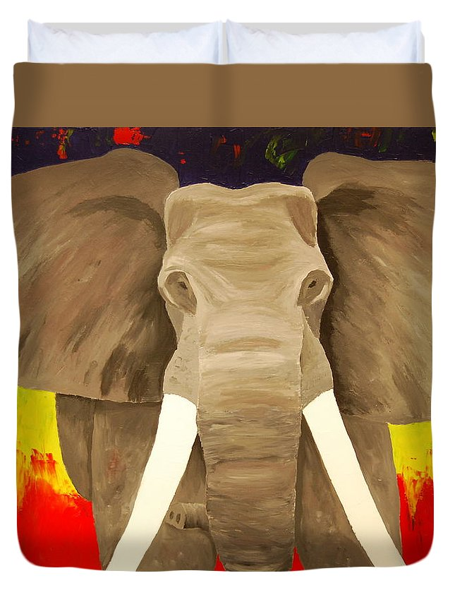 Elephant Duvet Cover featuring the painting Bull Elephant Prime Colors by Frank Middleton