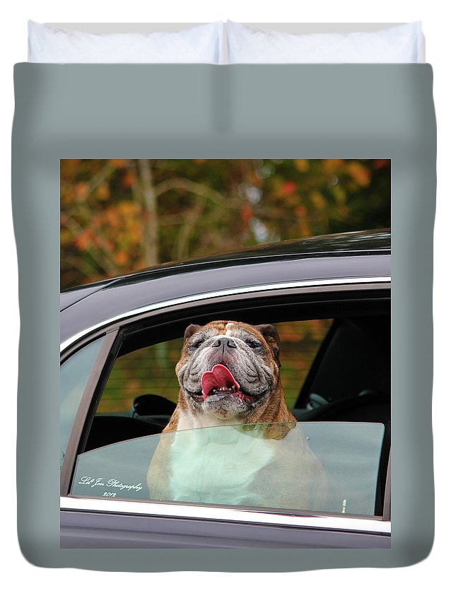 English Bulldog Duvet Cover featuring the photograph Bulldog Bliss by Jeanette C Landstrom