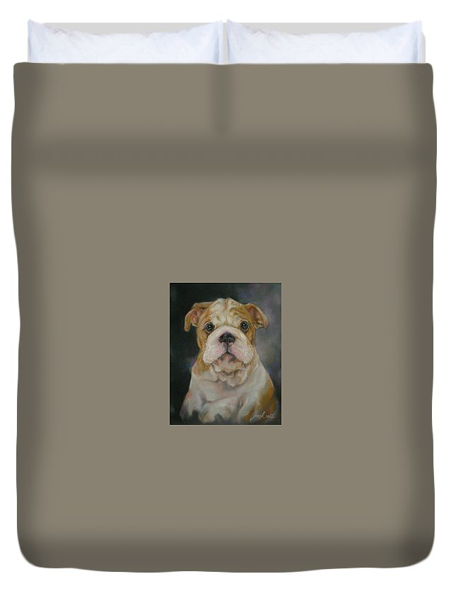 Original Painting & Creation Impressionism Duvet Cover featuring the painting Bulldog Puppy by Jack No War