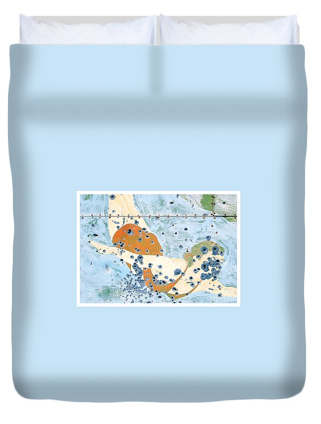 Chico Duvet Cover featuring the photograph Bullet Ridden Tin Sign Chicos Hot Springs by Edward Fielding