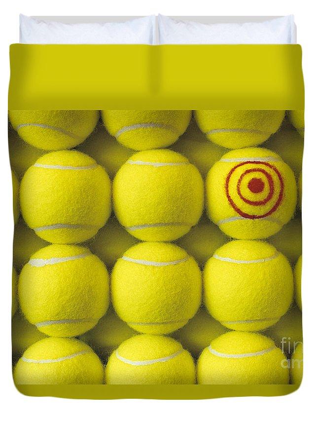 Tennis Ball Duvet Cover featuring the photograph Bullseye Tennis Balls by Jim Corwin