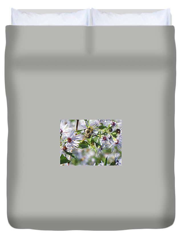 Flowers Duvet Cover featuring the photograph Bumble Bee by Lisa Wormell