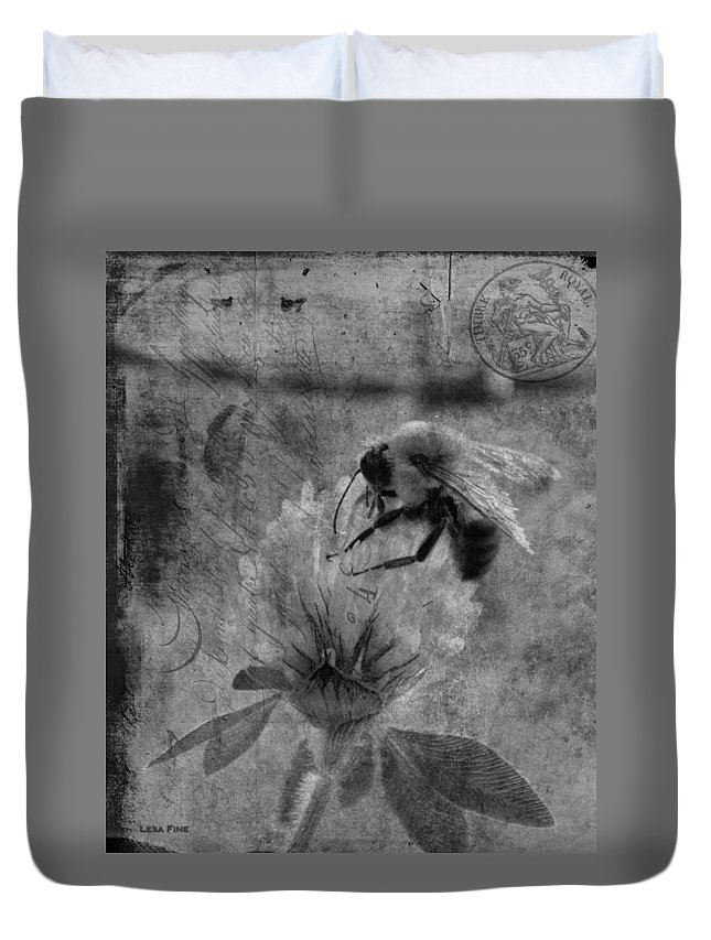 Bumble Bee Duvet Cover featuring the photograph Bumble Bee Post Card 2 Bw by Lesa Fine
