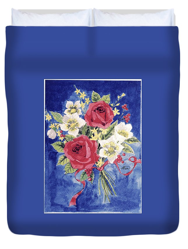 Bunch Of Flowers Duvet Cover featuring the painting Bunch Of Flowers by Alban Dizdari