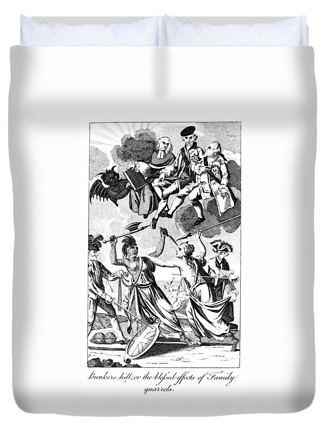 1775 Duvet Cover featuring the photograph Bunker Hill: Cartoon, 1775 by Granger