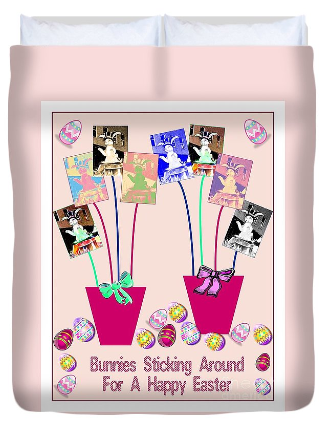 Computer Program Created Duvet Cover featuring the photograph Bunnies Sticking Around For Easter by Marian Bell