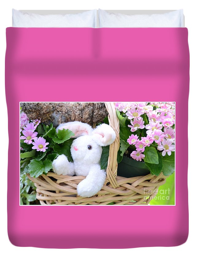 Rabbit Duvet Cover featuring the photograph Bunny In A Basket by Kathleen Struckle