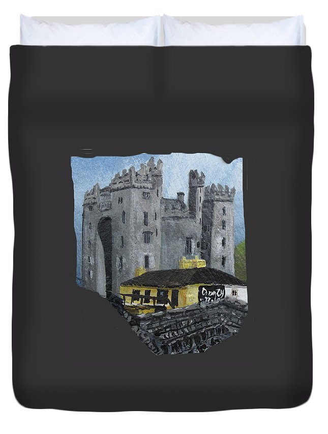 Irish Duvet Cover featuring the painting Bunratty Castle And Durty Nellys by Barbara McDevitt